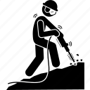 drill, driller, jackhammer, labor, miner, mining, worker icon
