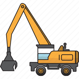 construction, earth mover, handler, machinery, material, mining, mining vehicles icon