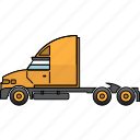 construction, earth mover, highway, mining, mining vehicles, semi-trailer, truck icon