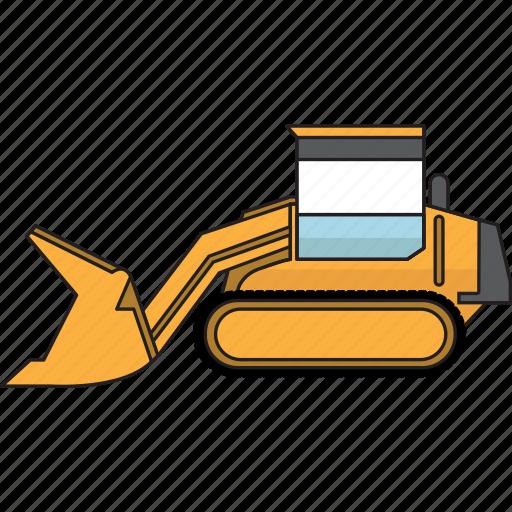 bulldozer, construction, earth mover, loader, mining, mining vehicles, track icon