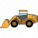 bulldozer, construction, dozer, earth mover, mining, mining vehicles, wheel icon