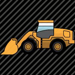 bulldozer, construction, dozer, earth mover, mining, mining vehicles, wheel icon