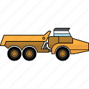 articulated, construction, earth mover, equipment, machinery, mining, mining vehicles icon