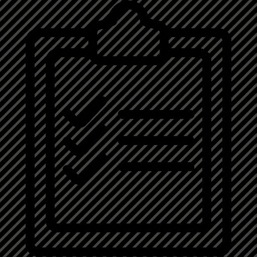 checklist, clipboard, document, list, paper, sheet, tasks icon