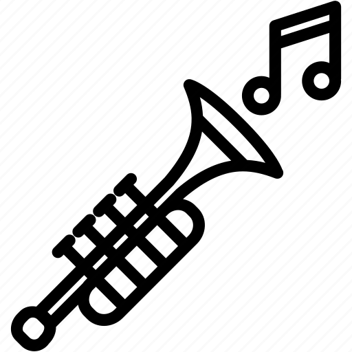 instrument, music, note, sound, trumpet icon