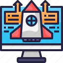 ads, advertising, business, creativity, idea, rocket, stratup icon