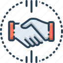 acquirer, acquisitions, handshake, mergers, partnership icon