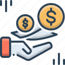 charges, costs, currency, fees, payment, text, wages icon