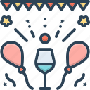 celebration, event, glass, jollification, joyful, party, wine icon