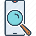 discovery, find, glass, magnifying, phone, quest, search