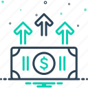 augmentation, economy, enhancement, finance, increase, upsurge, upturn icon