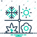 autumn, climate, natural, season, snowflake, summer, weather icon