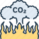 atmosphere, co2, damage, effect, emission, pollution, release icon