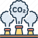 atmosphere, chimney, emission, factory, pollution, release, smoke icon