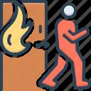 burning, climacteric, emergency, evacuation, exigency, exit, safe