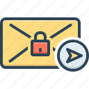 arrow, email, mail, privacy, protected, refer secure, safe
