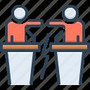 debate, disputation, impugnment, opposition, pleadings, protest, quarrel icon