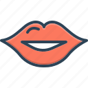 attractive, glossy, human, kiss, lip, mouth, open icon