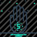 bumbo, finger, five, fiver, gesture, hand