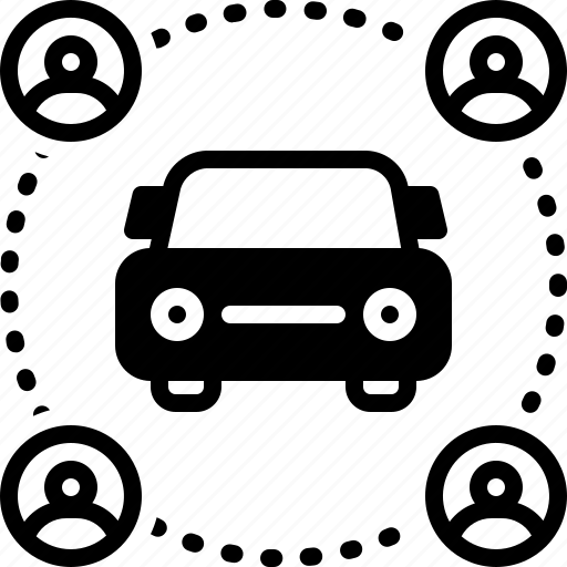 Car Carpooling Carsharing Pooling Ride Transportation Vehicle Icon