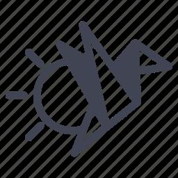 bird, flying, miscellaneous, oragami, sun icon