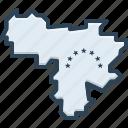 venezuela, country, border, map, contour, patriotic, cartography
