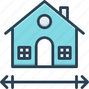 measured, blueprint, dimensions, house, height, area, centimeter icon