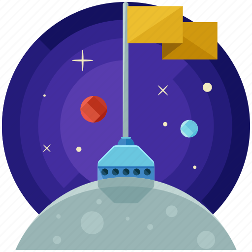 discovery, flag, miscellaneous, moon, space icon