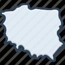 poland, country, european, map, landmark, border, warsaw