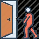 toward, door, indicate, direction, doorway, person, indoor