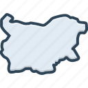 bulgaria, european, map, border, boundary, country