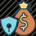 retain, safe, bag, protect, deposit, finance, money bag