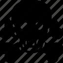toxic, poisonous, hazard, danger, biohazard, skull, crossbones icon