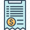 bill, document, invoice, paper, paperwork, receipt icon