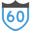badge, limit, sign, speed, street icon