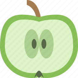apple, fruit, green, slice icon
