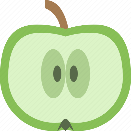 apple, fruit, green, slice icon