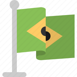 brazil, country, flag, stand icon