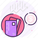 business, dollar, finance, graph icon