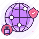 global, internet, lock, security icon