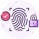 cyber security, fingerprint, lock, padlock, security, web security icon