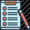 checklist, clipboard, form, pen, report icon