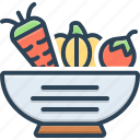 bowl, fresh, green, healthy, ingredient, nutrition, vegetable icon