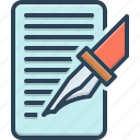 bespoke, document, made, order, paper, pen, write icon