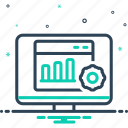 analytics, desktop, report, seo, statistics, technology, website icon