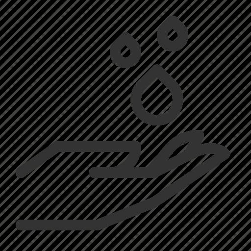 droplets, drops, hand, rain, water icon
