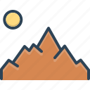 hill, location, mountain, mountainview, place, station, sun