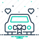 car, exclusively, gift, just, merely, new, newlywed icon