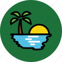 bay, beach, ocean, sea, sun, sun rising, sun set icon