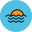 bay, ocean, sea, sun, sun rising, sun set, waves icon